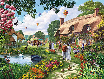 Pond Cottage Art Print by Steve Crisp