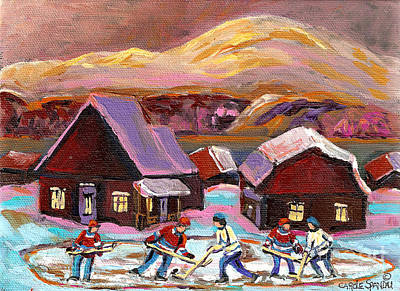 Painting - Pond Hockey Cozy Winter Scene by Carole Spandau