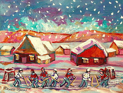 Painting - Pond Hockey Game 3 by Carole Spandau