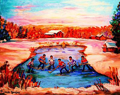 Kids Playing Hockey Painting - Pond Hockey Game By Montreal Hockey Artist Carole Spandau by Carole Spandau