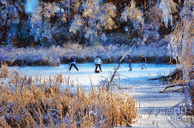 Photograph - Pond Hockey - Painterly by Les Palenik