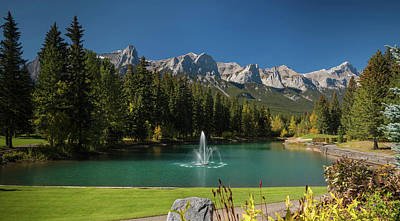 Pond In Canmore Golf Course, Mount Art Print