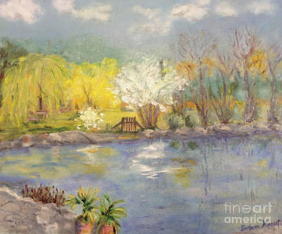 Painting - Pond In Ulm Germany In Spring by Barbara Anna Knauf