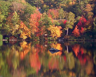 Photograph - Autumn Pond Reflection by Jeff Folger
