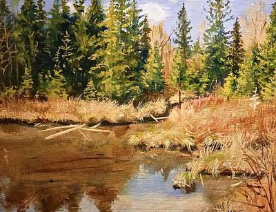 Reflections Of Sky In Water Painting - Pond Reflections by Walt Maes