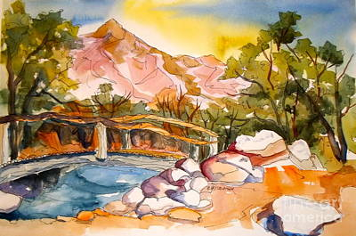 Painting - Pond Revisited Manzanar by Pat Crowther