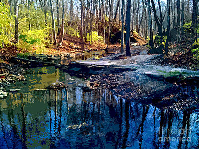 Landscape Digital Painting - Pond Series 3 by Charlie Spear