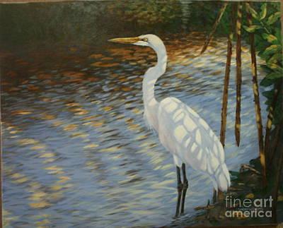 Sandra Williams Painting - Pond Shadows by Sandra Williams