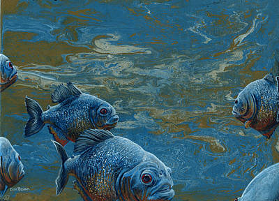 Piranha Painting - Pond Thugs by Cara Bevan