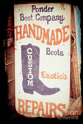 Country And Western Photograph - Ponder Handmade Boots by Sonja Quintero