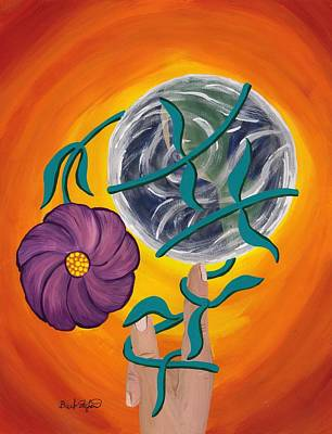 Pondering Creation - Spinning Vines Of Time Art Print by Barbara St Jean