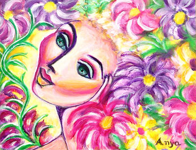 Art Print featuring the painting Pondering In A Garden by Anya Heller