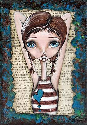 Big Eye Art Painting - Pondering by Lizzy Love of Oddball Art Co