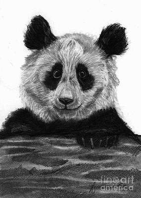 Bear Paw Drawing - Pondering Panda by J Ferwerda
