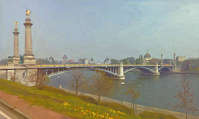 Meuse Painting - Pont De Fragnee Liege by Nop Briex