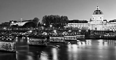 Photograph - Pont Des Arts At Night / Paris by Barry O Carroll