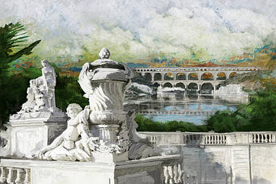 Chartre Painting - Pont Du Gard Roman Aqueduct by Catf