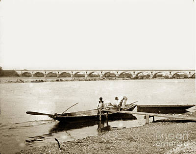 Photograph - pont George V Bridge over Loire river Orleans Loire Valley France 1900 by California Views Mr Pat Hathaway Archives