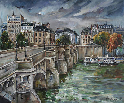 Pont Neuf At Dusk Art Print