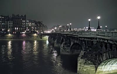 Gas Lamp Photograph - Pont Neuf Bridge At Night - Paris France by Daniel Hagerman
