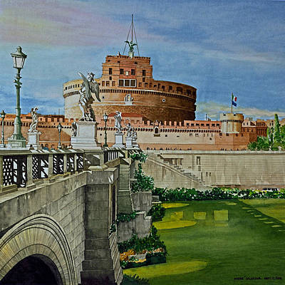 Painting - Pont Sant'angelo Bridge And Castle by Andre Salvador