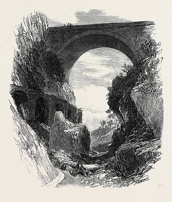 St. Louis Drawing - Pont St. Louis And Ruins Of Roman Aqueduct Mentone 1869 by French School