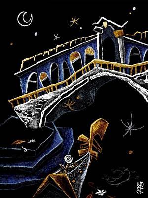 Venezia Drawing - Ponte Di Rialto - Grand Canal Venise Gondola Illustration by Arte Venezia