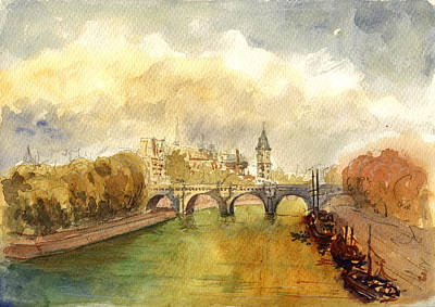 River Boat Painting - Ponte Neuf Paris by Juan  Bosco