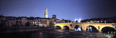 Ancient Apartments Photograph - Ponte Pietra And Adige River, Verona by Panoramic Images