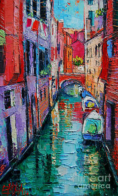 Red Roof Painting - Ponte Raspi O Sansoni - Venice - Italy by Mona Edulesco