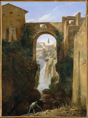 Marius Painting - Ponte San Rocco And Waterfalls, Tivoli by Fran�ois Marius Granet