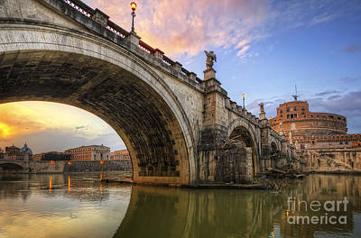 Photograph - Ponte Sant' Angelo Sunset by Yhun Suarez