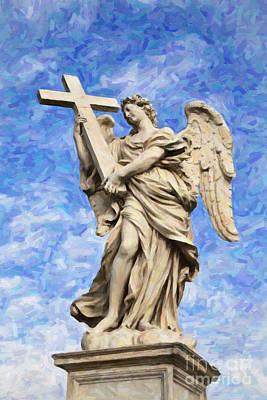 Ponte Sant'angelo Angel With The Cross Art Print