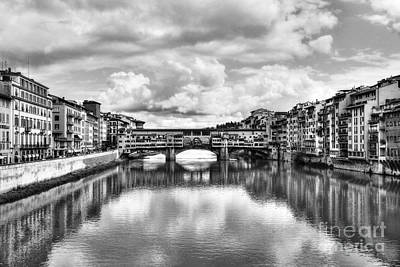 Photograph - Ponte Vecchio At Florence Italy 2 Bw by Mel Steinhauer