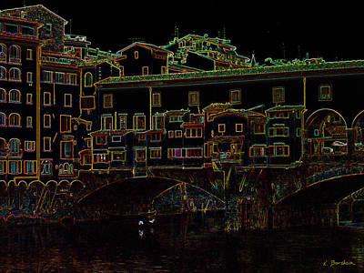 Photograph - Ponte Vecchio II In Neon by Kelly Borsheim