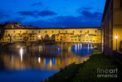 Tuscan Sunset Photograph - Ponte Vecchio Reflection by Inge Johnsson