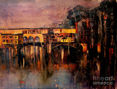 Newton Painting - Ponte Vecchio Watercolor Painting by Ryan Fox