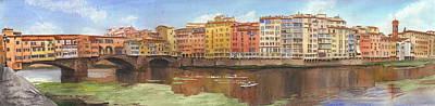 Drawing - Ponte Vecchio Watercolor Portrait by Mike Theuer