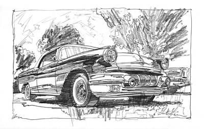 Impressionism Drawings - Pontiac Bonneville Study by Garth Glazier