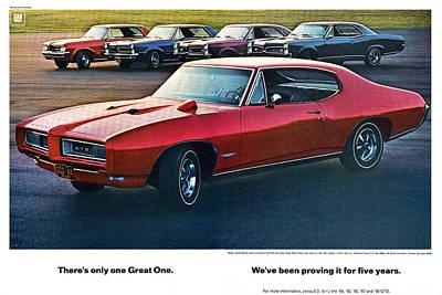 Racetrack Digital Art - Pontiac Gto - 1964 1965 1966 1967 1968 by Digital Repro Depot
