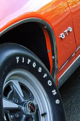 1969 Photograph - 1969 Pontiac Gto Judge Coupe Tire Emblem by Jill Reger