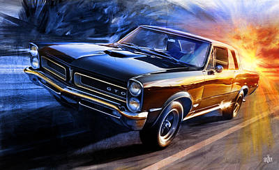 Glazier Painting - 1965 Pontiac Tempest Gto Sunset by Garth Glazier