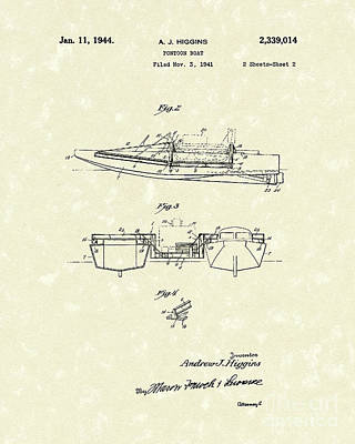 Double Drawing - Pontoon Boat 1944 Patent Art by Prior Art Design