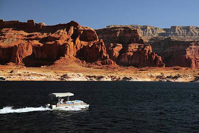 Glen Canyon Photograph - Pontoon Boat On Lake Powell, Glen by Michel Hersen