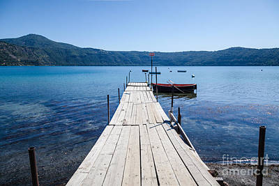 Pontoon With Rowing Boat On Lake Albano Lazio Italy Art Print