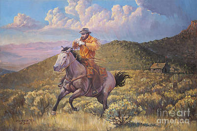 Animals Paintings - Pony Express Rider at Look Out Pass by Rob Corsetti