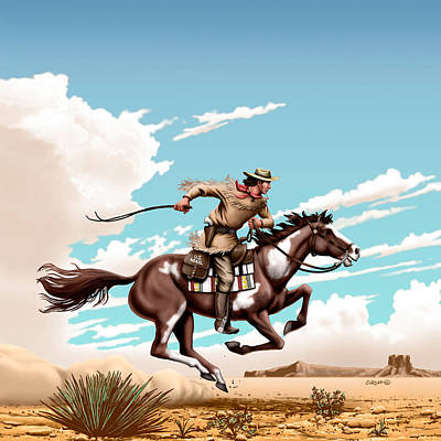 Pony Express Rider - Western Americana - Square Format Original by Walt Curlee