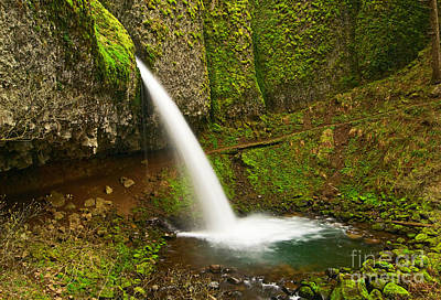 Ponytail Falls At The Columbia River Gorge In Oregon. Art Print by Jamie Pham