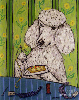 Needlepoint Painting - Poodle Doing Needlepoint by Jay  Schmetz