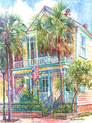 Palmetto Tree Painting - Poogan's Porch by Alice Grimsley